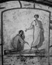 Uzdravení ženy s krvotokem: freska z 3. století, katakomba sv. Petra v Římě