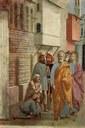 Svatý Petr uzdravuje stínem, Masaccio, 1426-27, http://www.wga.hu/